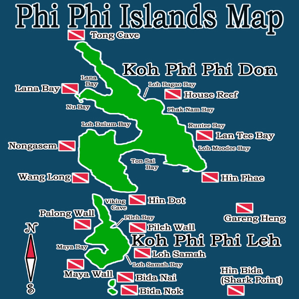 PHIPHI ISLANDS DIVE SITE MAP
