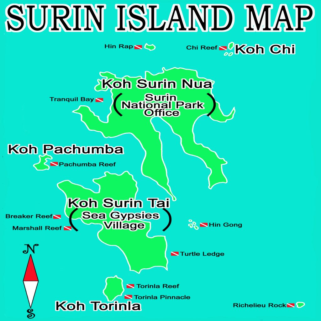 Surin national park map-dive cruise phuket